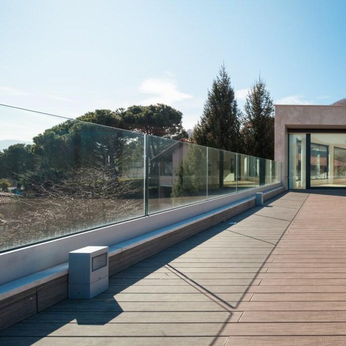View of a modern empty balcony, nobody inside
